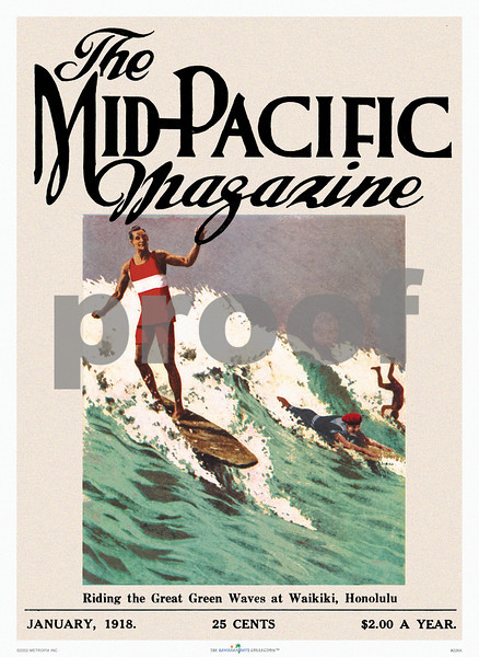 226: Print or poster of vintage Hawaiian Mid-Pacific Magazine cover with picture of surfers, 'Riding The Great Green Waves.' Ca. 1918. (PROOF watermark will not appear on your print)