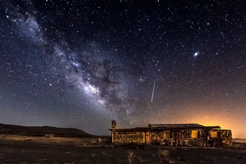 Milky Way, Meteor, and Abandoned Home