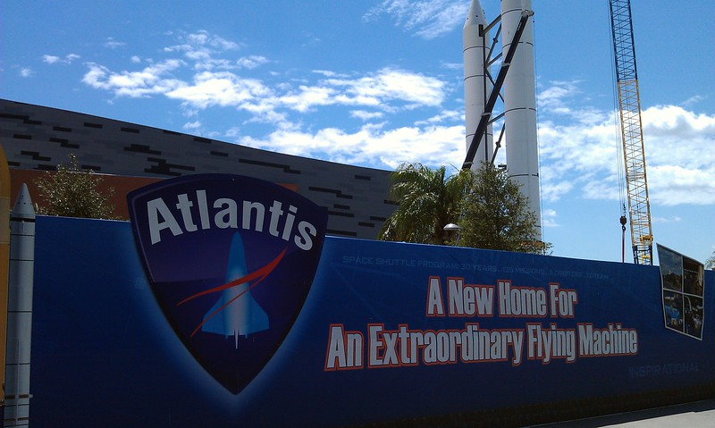 Solid rocket boosters (SRBs) that will accompany the new Space Shuttle Atlantis exhibit