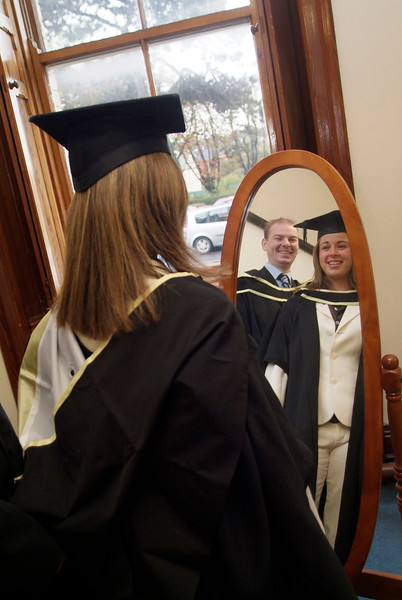 Celebration time for Paul O'Brien, St John's Park, Waterford and Audrey Jones, Bennekerry, Carlow - both conferred with Master of Business in Accounting at Waterford Institute of Technology (Pic: Photozone).