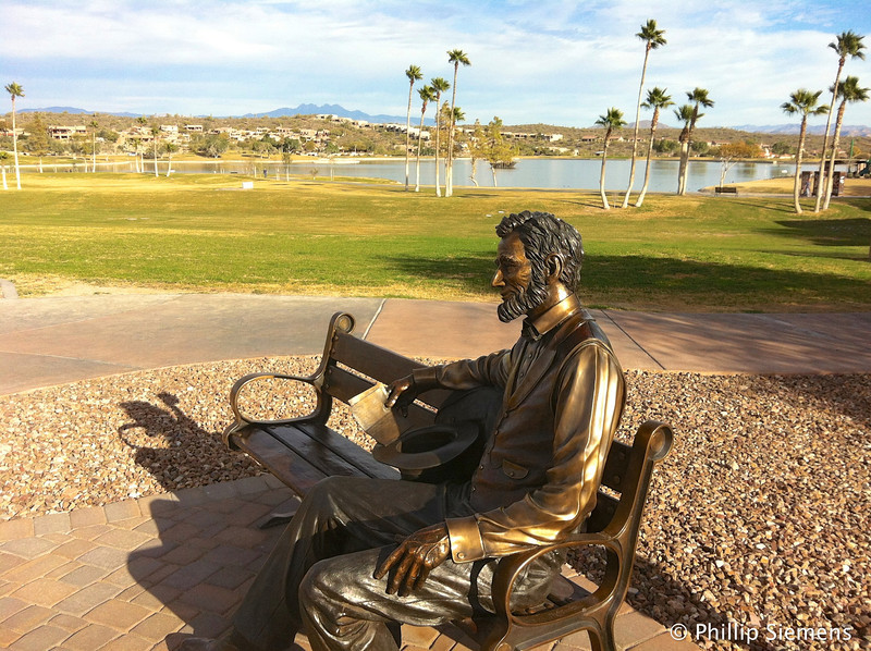 Honest Abe relaxing by the small lake in Fountain Hills