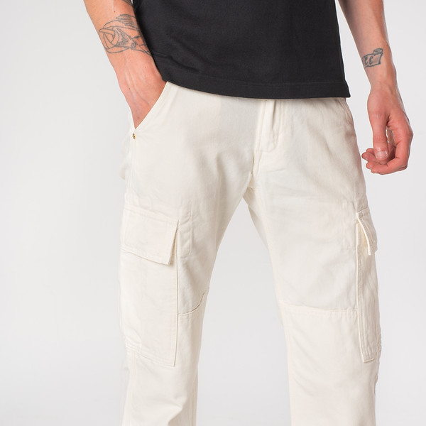 White 10.5oz Cotton Herringbone Cargo Pants--8.jpg