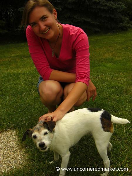 Audrey Playing with a Dog - Pulkau, Austria