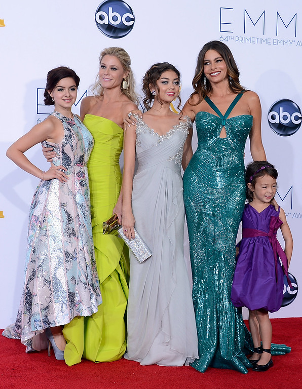 . (L-R) Actresses Julie Bowen, Ariel Winter, Aubrey Anderson-Emmons, Sarah Hyland and Sofia Vergara pose in the press room during the 64th Annual Primetime Emmy Awards at Nokia Theatre L.A. Live on September 23, 2012 in Los Angeles, California.  (Photo by Kevork Djansezian/Getty Images)
