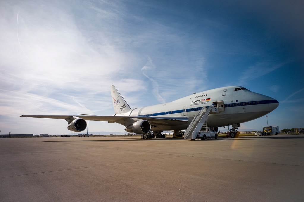 . NASA\'s SOFIA, Stratospheric Observatory for Infrared Astronomy, is readied for take-off from the Neil Armstrong Flight Center in Palmdale, CA.  The modified 747SP has a  an opening in the rear to allow a 2.5 meter diameter reflecting telescope access to the sky.  (Photo by David Crane/Los Angeles Daily News)