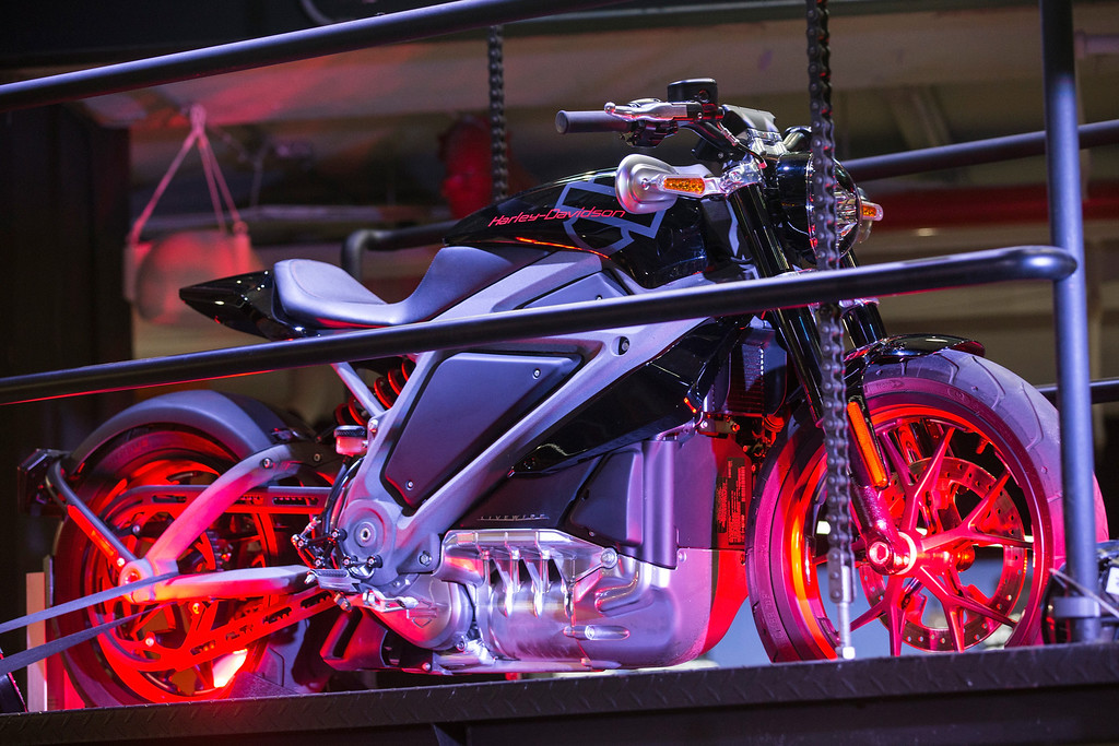 . A Harley Davidson Livewire motorcycle, Harley Davidson\'s first electric bike, sits on display inside the Harley Davidson Store on June 23, 2014 in New York City. The Livewire has 74 horsepower and a top speed of 92 miles per hour.  (Photo by Andrew Burton/Getty Images)
