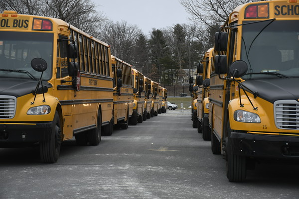 3/21/2018 Mike Orazzi | Staff Buses lined up for early dismissal at Bristol Eastern High School Wednesday'.