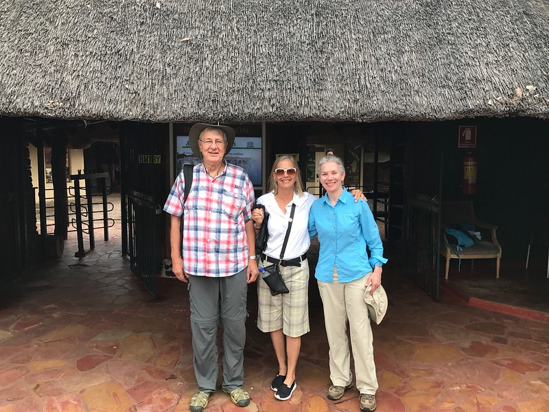 Rob, Lisa and Marilyn at park entry to Victoria Falls - Lisa Swenson
