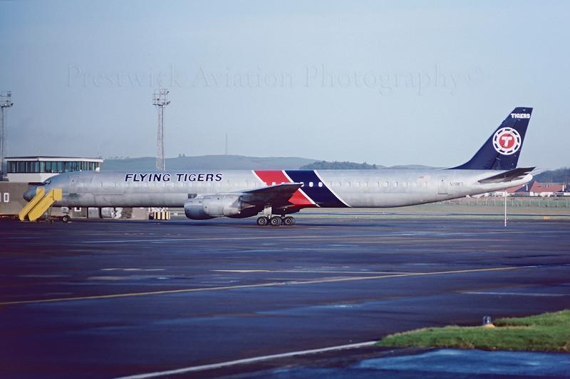N701FT. Douglas DC-8-73CF. Flying Tigers. Prestwick. February 1989.
