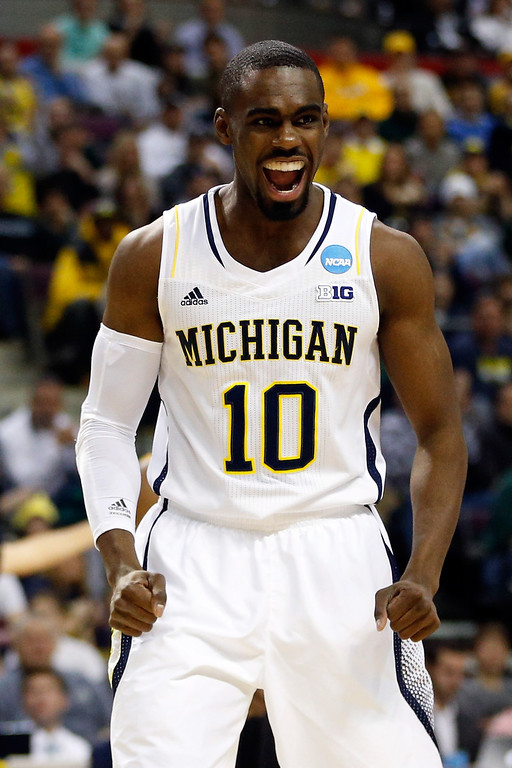 . AUBURN HILLS, MI - MARCH 23:  Tim Hardaway Jr. #10 of the Michigan Wolverines reacts in the first half against the Virginia Commonwealth Rams during the third round of the 2013 NCAA Men\'s Basketball Tournament at The Palace of Auburn Hills on March 23, 2013 in Auburn Hills, Michigan.  (Photo by Gregory Shamus/Getty Images)