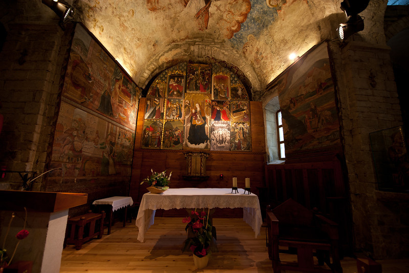 The altar in Iglesia de San Miguel in Vielha, Val d' Aran, Catalonia, Spain
