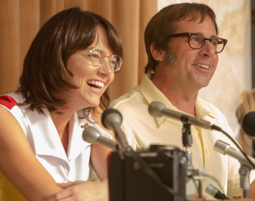 ". Emma Stone stars as Billie Jean King and  Steve Carell as Bobby Riggs in ""Battle of the Sexes,\"" in theaters Sept. 29.  (Twentieth Century Fox)"