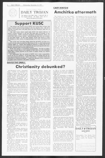 Daily Trojan, Vol. 64, No. 35, November 10, 1971