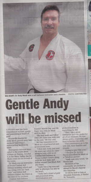Tribute to Andy 2nd Dan Black Belt Combat Self Defence