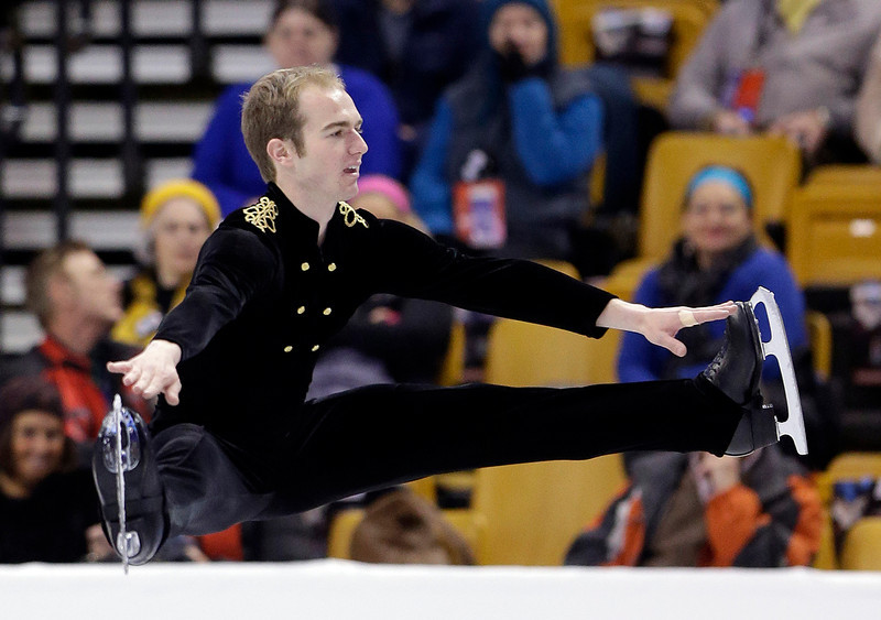 . Robert Przepioski competes during the men\'s free skate at the U.S. Figure Skating Championships Sunday, Jan. 12, 2014 in Boston. (AP Photo/Steven Senne)