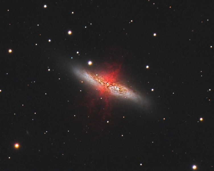 """M82: Cigar Galaxy in Ursa Major. HaRGB. No Luminance added. 0.46""""/pixel image scale.  Astrodon 5nm Ha filter, 13 x 30 minutes, Unbinned 1x1. F/10, 2/17/2013.  Astrodon Red filter, 24 x 5 minutes, Unbinned 1x1. F/10, 3/9/2013.  Astrodon Green filter, 24 x 5 minutes, Unbinned 1x1. F/10, 3/9/2013.  Astrodon Blue filter, 27 x 5 minutes, Unbinned 1x1. F/10, 3/9/2013.   Celestron 8"""" EdgeHD with Astro-Physics Mach1GTO GEM. Atik 460EX mono. Hutech OAG. Lodestar.   Captured with Nebulosity. Processed with PixInsight. PHD settings: RA Aggressiveness: 60, RA Hysteresis: 10, Max Dec Duration: 75, Min Motion: 0.70, Calibration Steps: 125msec, Auto/Resist Switching, Extreme dithering and Settled at < 0.5, 3 sec guiding exposure."""