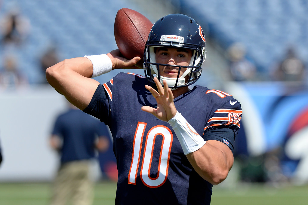 . Chicago Bears quarterback Mitchell Trubisky warms up before an NFL football preseason game against the Tennessee Titans Sunday, Aug. 27, 2017, in Nashville, Tenn. (AP Photo/Mark Zaleski)