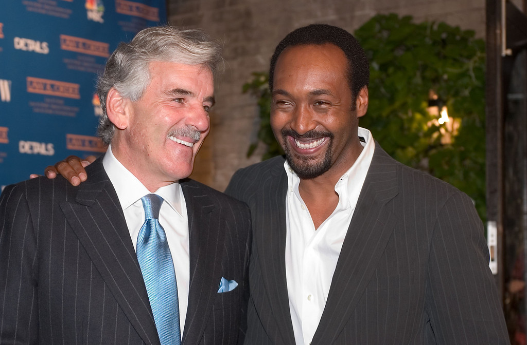 """. (L-R) Dennis Farina and Jesse L. Martin attend the party for cast members of all three \""""Law & Order\"""" shows at One Little 12th Street restaurant on September 21, 2004 in New York City.  (Photo by Fernando Leon/Getty Images)"""