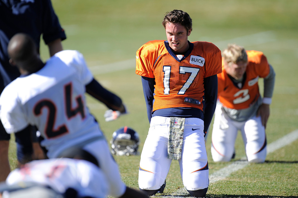. Denver Broncos quarterback Brock Osweiler (17) stretches before practice November 13, 2013 at Dove Valley. Brock took the snaps on the day as Peyton Manning was held out of practice. (Photo by John Leyba/The Denver Post)