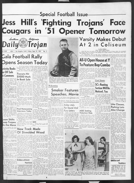 Daily Trojan, Vol. 43, No. 5, September 21, 1951