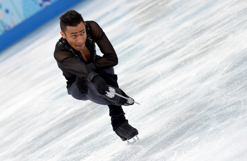 . France\'s Florent Amodio performs in the Men\'s Figure Skating Team Short Program at the Iceberg Skating Palace during the Sochi Winter Olympics on February 6, 2014.  (DAMIEN MEYER/AFP/Getty Images)