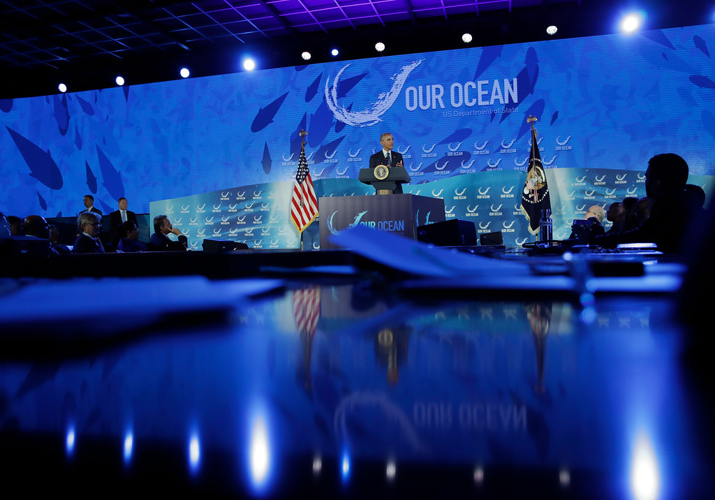 . President Barack Obama speaks at the 2016 Our Ocean Conference at the State Department in Washington, Thursday, Sept. 15, 2016. (AP Photo/Carolyn Kaster)