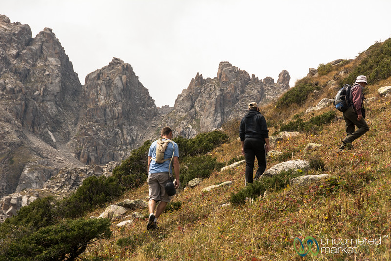 Steep Ascent to Alpine Lake - Jyrgalan Trek, Kyrgyzstan