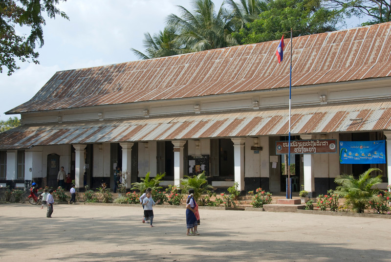 Students outside a public elementary school in Luang Prang, Laos
