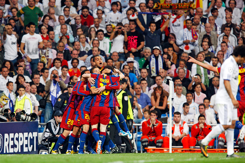 FC Barcelona players celebrating a goal by Messi, UEFA Champions League Semifinals game between Real Madrid and FC Barcelona, Bernabeu Stadiumn, Madrid, Spain