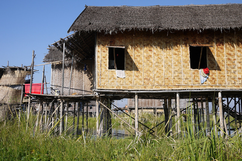 Traditional stilt houses on Inle Lake, Burma (Myanmar).