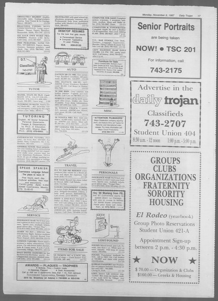 Daily Trojan, Vol. 105, No. 47, November 09, 1987