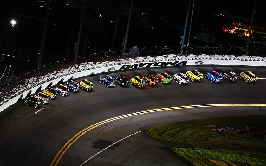 . Austin Dillon, driver of the #3 DOW Chevrolet, leads the field during the NASCAR Sprint Cup Series Budweiser Duel 1 at Daytona International Speedway on February 20, 2014 in Daytona Beach, Florida.  (Photo by Brian Lawdermilk/Getty Images)