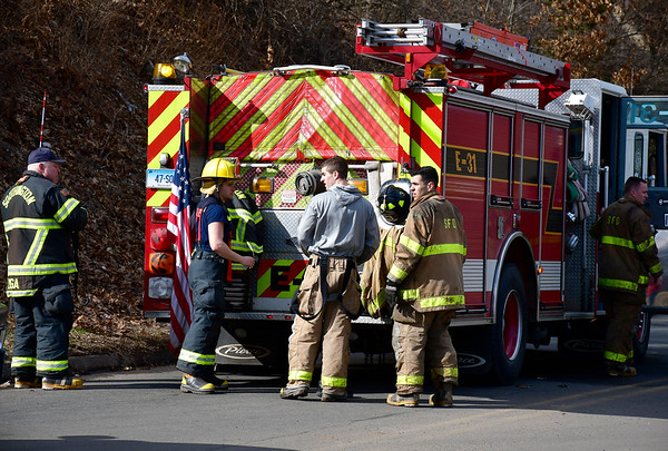 3/19/2019 Mike Orazzi | Staff The Southington Fire Department on scene at a car fire at Chuck & Eddie's Used Auto Parts on Old Turnpike Rd, Southington Tuesday afternoon.
