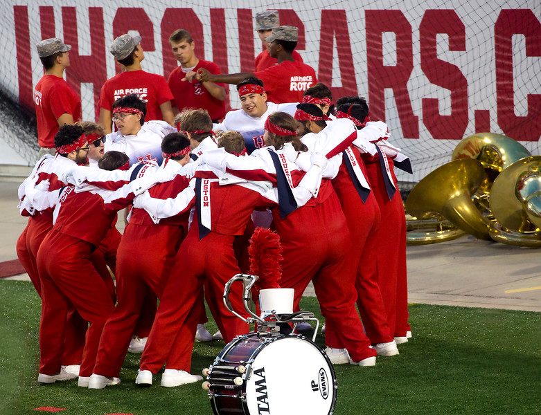 The tuba players do their pregame dance.