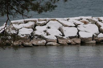 2012 12 27: Ephraim, WI, US; Rocks-Snow-Puzzle