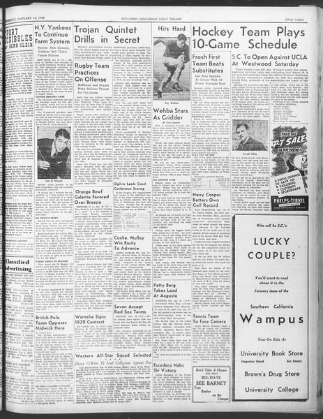Daily Trojan, Vol. 30, No. 70, January 19, 1939