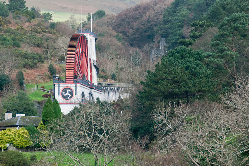 View of the Laxey Wheel amidst forest canopy in Isle of Man