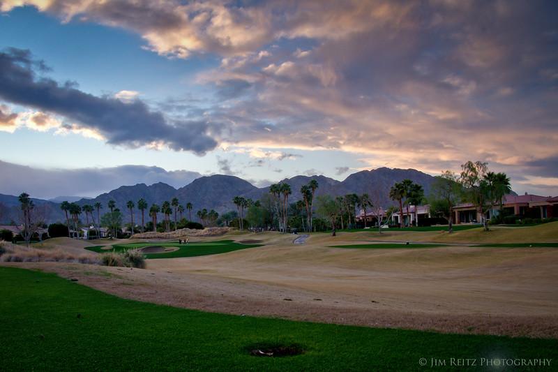17th hole at sunset - Nicklaus Tournament Course, PGA West, La Quinta, CA