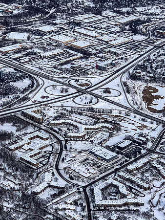 Snow Arts, Aerial views of snow on the city