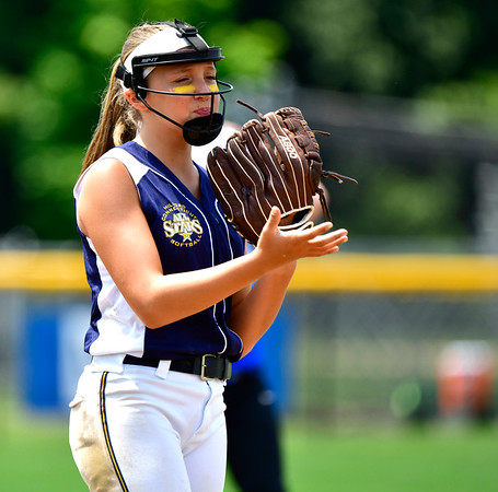 7/25/2019 Mike Orazzi | Staff Connecticut's Talia Salanto (4) during the Eastern Regional Softball Tournament at Breen Field in Bristol on Thursday.