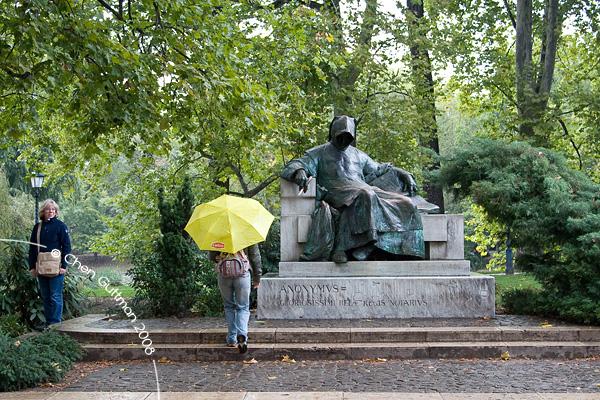 Moran and a local statue