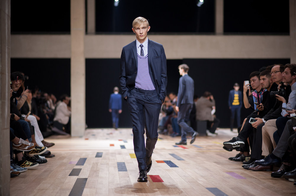 . A model walks the runway during the Dior Homme  show as part of the Paris Fashion Week Menswear Spring/Summer 2015 on June 28, 2014 in Paris, France.  (Photo by Francois Durand/Getty Images)