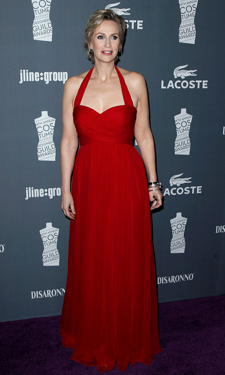 . Actress Jane Lynch arrives at the 14th Annual Costume Designers Guild Awards at the The Beverly Hilton hotel in Beverly Hills, Calif., Tuesday, Feb. 21, 2012.  (AP Photo/Matt Sayles)