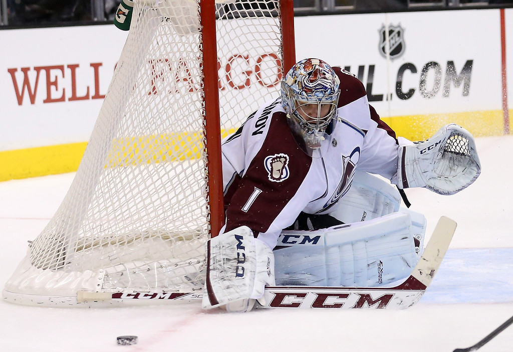 . LOS ANGELES, CA - DECEMBER 21:  Goalie Semyon Variamov #1 of the Colorado Avalanche watches the puck go by the net against the Los Angeles Kings at Staples Center on December 21, 2013 in Los Angeles, California.  (Photo by Stephen Dunn/Getty Images)