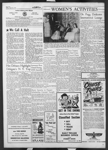 Daily Trojan, Vol. 42, No. 113, April 20, 1951