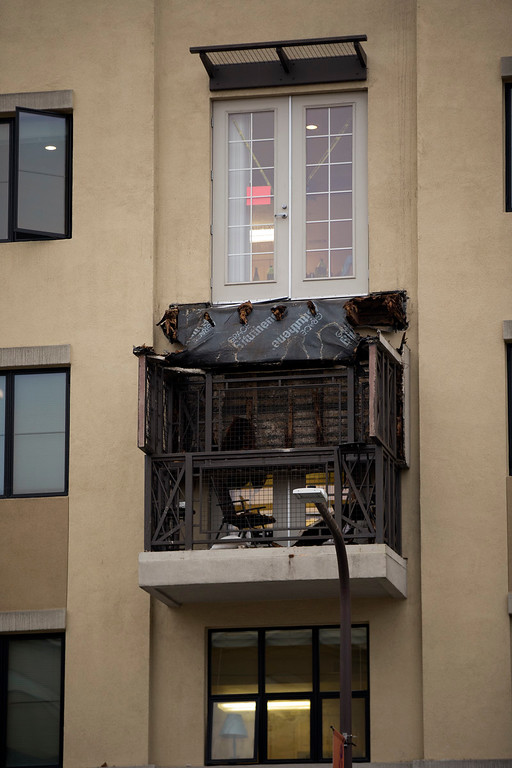 . The scene of a balcony collapse at an apartment building on Kittredge Street in Berkeley, Calif., Tuesday, June 16, 2015. Six people were killed. (D. Ross Cameron/Bay Area News Group)