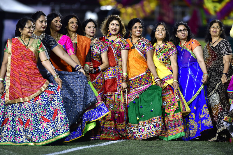 9/14/2019 Mike Orazzi | Staff Participants during the Indian festival Navaratri held at Veterans Memorial Stadium in New Britain on Saturday night.