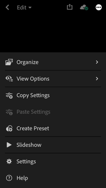 Inside Lightroom Mobile, cloud sync at the top right