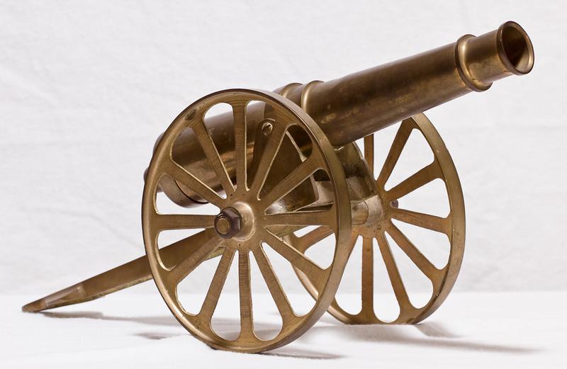Brass cannon (around a foot long)  At Robillard.