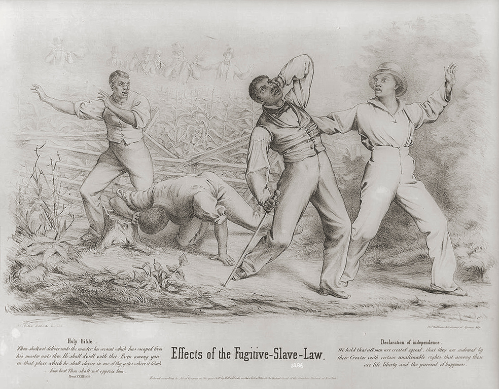 ". An impassioned condemnation of the Fugitive Slave Act passed by Congress in September 1850, which increased federal and free-state responsibility for the recovery of fugitive slaves. The law provided for the appointment of federal commissioners empowered to issue warrants for the arrest of alleged fugitive slaves and to enlist the aid of posses and even civilian bystanders in their apprehension. The print shows a group of four black men--possibly freedmen--ambushed by a posse of six armed whites in a cornfield. One of the white men fires on them, while two of his companions reload their muskets. Two of the blacks have evidently been hit; one has fallen to the ground while the second staggers, clutching the back of his bleeding head. The two others react with horror. Below the picture are two texts, one from Deuteronomy: ""Thou shalt not deliver unto the master his servant which has escaped from his master unto thee. He shall dwell with thee. Even among you in that place which he shall choose in one of thy gates where it liketh him best. Thou shalt not oppress him.\"" The second text is from the Declaration of Independence: \""We hold that all men are created equal, that they are endowed by their Creator with certain unalienable rights, that among these are life, liberty and the pursuit of happiness.\"" The print is unusually well drawn and composed for a political print of the period. The handling of both the lithographic technique and the figures betray particular skill. New York : Publ. by Hoff & Bloede, 1850.  Library of Congress"
